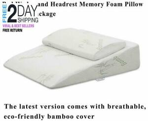details about intevision extra large foam bed headrest wedge pillow 33 x 30 5 x 7 5 new