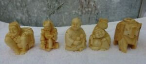 Vintage Chinese carved figures resin 4 men & 1 elephant well detailed