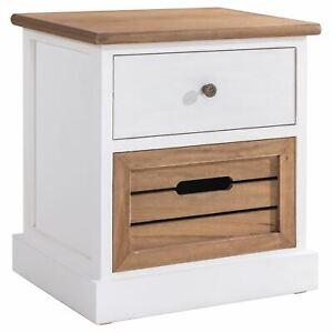 details sur table de nuit chevet 1 tiroir avec poignee bouton 1 caisse en bois blanc brun