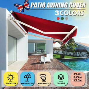 details about manual awning canopy outdoor patio garden sun shade retractable shelter uk stock