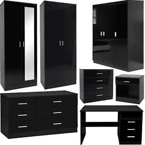 details about bedroom furniture 3 piece set black gloss wardrobe drawer bedside chest table