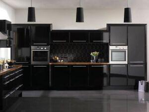 details sur haut noir brillant vinyle enveloppant cuisine armoire chambre meuble air bulle