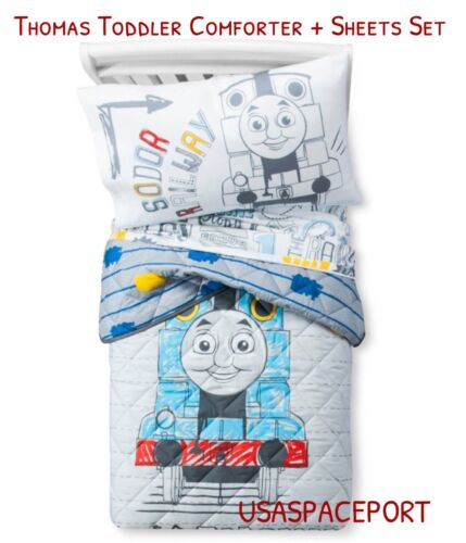 4pcs thomas train toddler bed in a bag comforter sheets set boys girls room crib home garden kids teens home items