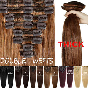 Elegant Thick Double Wefted Clip In Remy Human Hair