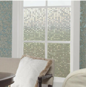 details about stickshade large mosiac privacy film static cling front door window patio decal