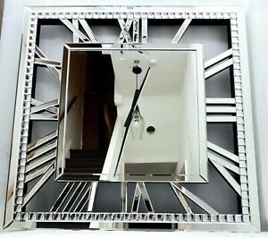 Extra Large Wall Clock Sparkly Silver Crystal Mirrored Roman Numerals 81x81cm Ebay