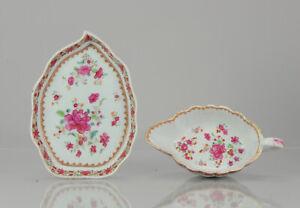 Antique 18C Chinese Porcelain Famille Rose Qianlong Leaf Sauceboat Bowl China