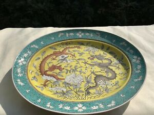Antique Chinese Famille Rose Porcelain Ceramic Large Plate Hand-Painted China
