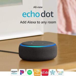 Amazon Echo Dot 3rd Generation Latest 2019 Charcoal Black with Alexa New Sealed