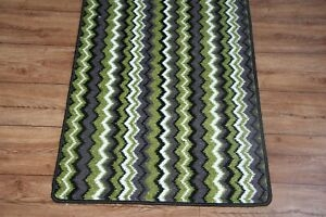Quality Green Zigzag Carpet Heavy Domestic Hall Stairs Extra | Zig Zag Stair Carpet | Winding Staircase | Geometric | Metal Bar On Stair | Red | Traditional