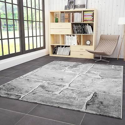 tapis salon design moderne pierre mur optique gris blanc qualite premium ebay