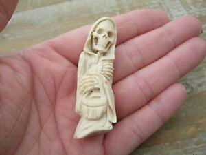 Unusual Memento Mori Statue Of Death / Grim Reaper Carved In Red Deer Antler