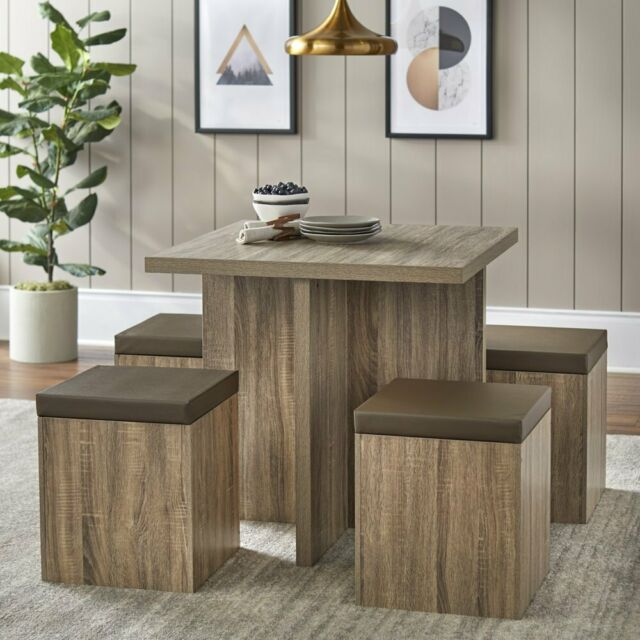 mainstays 5 piece dexter dining set with storage ottoman