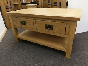 details about baysdale rustic oak coffee table with drawers occasional storage table