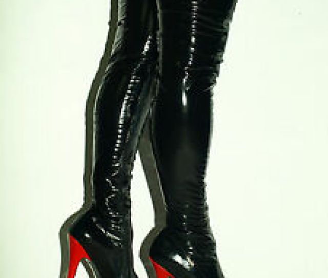 Image Is Loading Latex Rubber Ballet High Boots Size 6 16