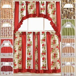 details about kitchen curtains 3 pc set with attached valance tier and swag set red brown