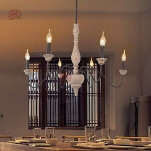 details about french country candle style 6 lights chandelier retro wood rust pendant lighting