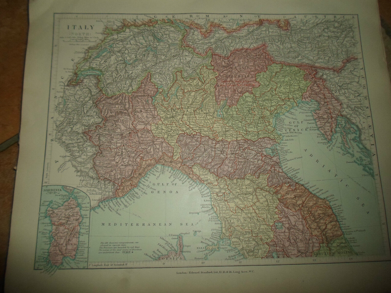 World Maps   Maps  Atlases   Globes   Antiques MAP c1920 ITALY NORTH Taken From Stanfords London Atlas of Universal  Geography