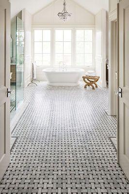 carrara weiss italienische bianco carrara marmor basketweave mosaik fliese ebay