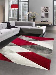 details sur tapis moderne tapis de salon motif geometrique abstrait en gris rouge