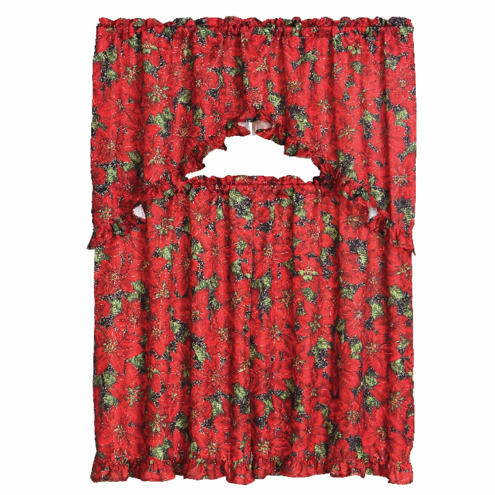 3 Piece Christmas Decorative Kitchen Curtain Set Ruffled Swag Valance Amp Tiers EBay