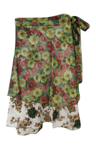 WOMENS-TWO-LAYER-WRAP-SKIRT-MULTI-COLOR-PRINTED-SILK-SARI-SHORT-MAGIC-SKIRT