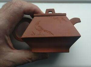 Very fine 19th Century Antique Chinese Yixing Magpie Wine Pot incised poem.