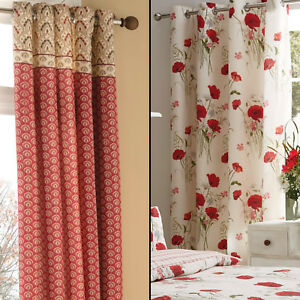 details about catherine lansfield floral red natural eyelet ring top fully lined curtains