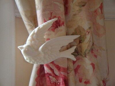 shabby chic bird curtain drapery tiebacks holdback acanthus wall plate pair l r ebay