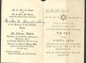 Details About 1945 St Kilda Synagogue Antique Judaica Jewish Wedding Invitation Australia Rare