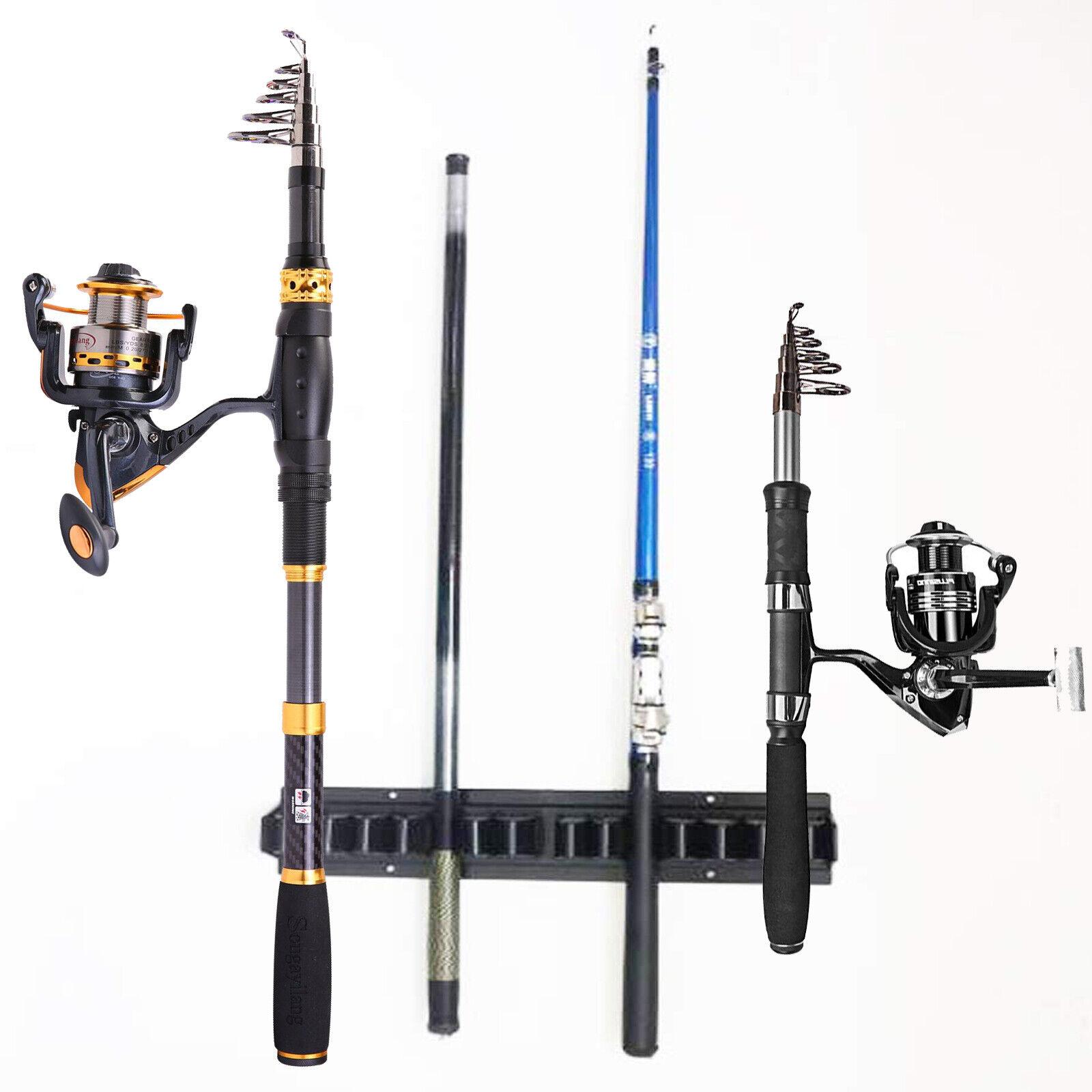vertical 10 rod storage rack boat fishing rod holder garage home