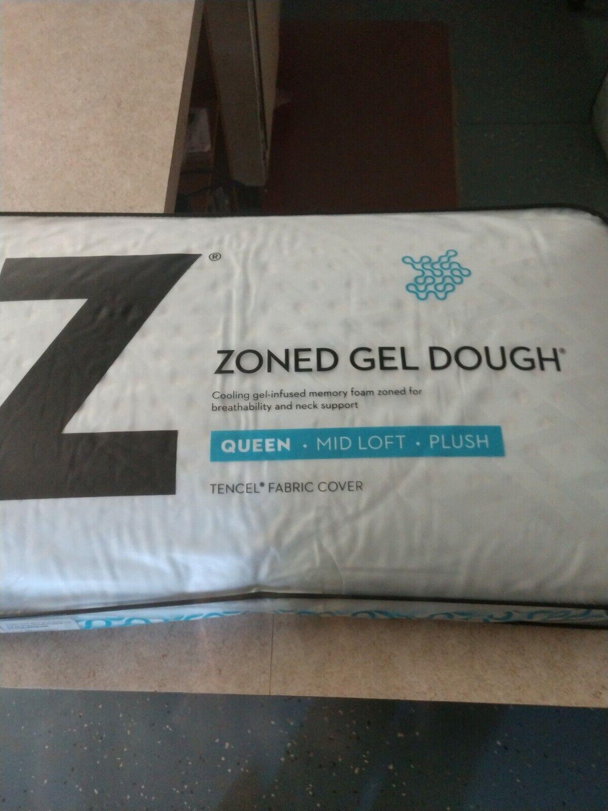 malouf z zoned gel dough mid loft plush cooling queen memory foam pillow