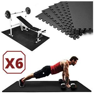 details sur ensemble x6 tapis sol puzzle mousse eva protection sol fitness gym musculation