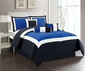 details about 7pc king navy blue black white color block comforter set bed in a bag