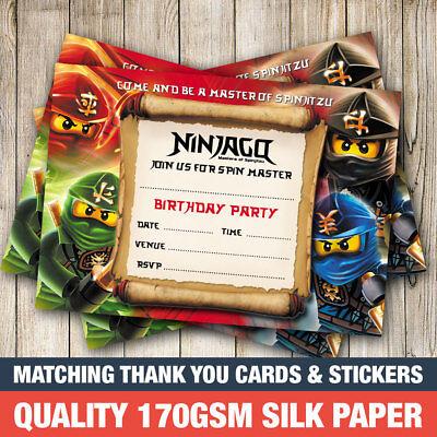 cards stationery set of 6 ninjago