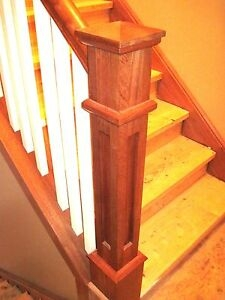 Recessed Panel Mission Style Newel Post 6X6 Sapele 10 Off For   Mission Style Newel Post   Craftsman Style   Maple   Stained Handrail   Stair Banister   Raised Panel