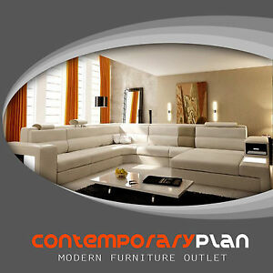 details about polaris cream italian leather sectional sofa with taupe accent contemporary