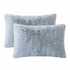 details about bed decorative pillows super soft sherpa shaggy fluffy pillowcase set gray 2 pcs