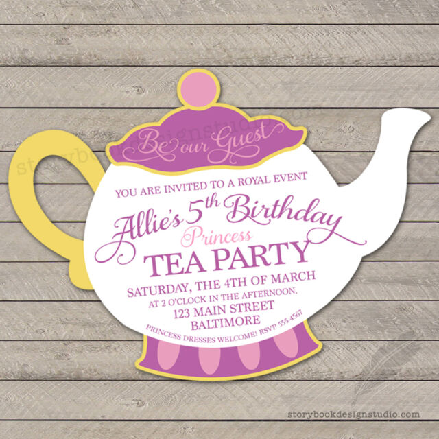 beauty and the beast tea party birthday invitations die cut mrs potts printed