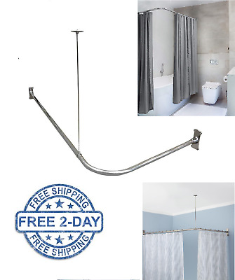l shaped shower curtain rod ceiling support curved pole corner bath rail chrome ebay