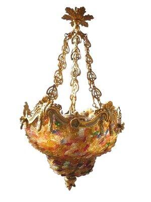 lustre style baroque lustre venise colore bronze et pastilles de verre ebay