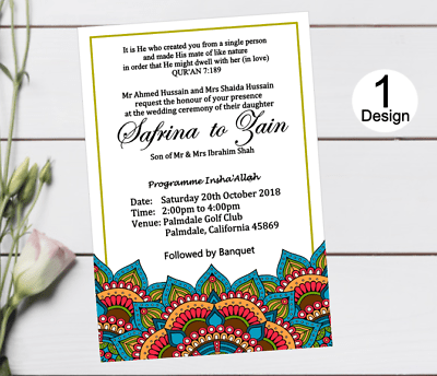 Mehndi Muslim Wedding Invitations Mandala Personalised Invites 10x Ebay