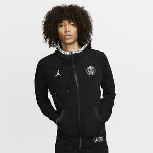 details about nike psg jordan black cat full zip fleece hoodie black size uk medium large