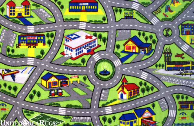 4 3 x6 6  Area Rug Kids Play Road Map Street Fun City Driving Time     4 3  x 6 6  Area Rug Kids Play Road Map Street