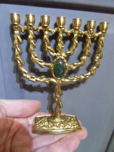 hanukkah menorah jerusalem candlestick holder judaica israel bougeoir