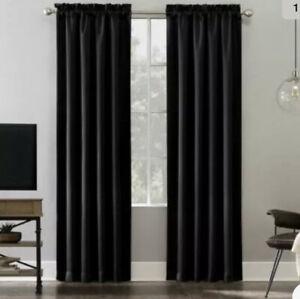 details about lichtenberg energy efficient 3 rod pocket curtain one panel 54 x 108 black new