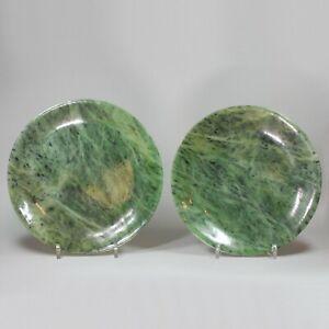 Pair of Chinese spinach green jade circular dishes, Qing Dynasty (1662-1916)