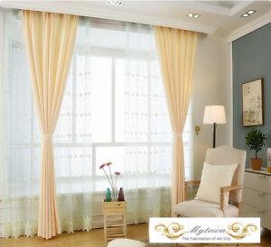Quality Eyelet Top Curtain Linen 80 Blockout Curtains Latte Yellow Buttermilk EBay