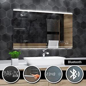 Seoul Eclaire Del Miroir Salle De Bain Led Bluetooth Touche Horloge Temps Ebay