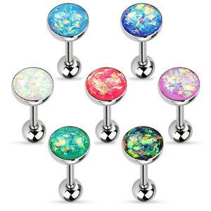 Zungenpiercing Hantel Barbell Schmuck Multi Opal Kristall Glitter Edelstahl